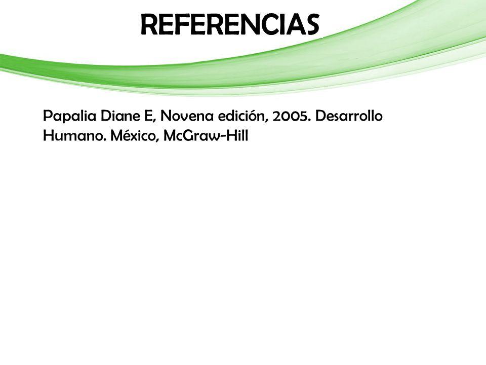 Papalia Diane E, Novena edición, 2005. Desarrollo Humano. México, McGraw-Hill