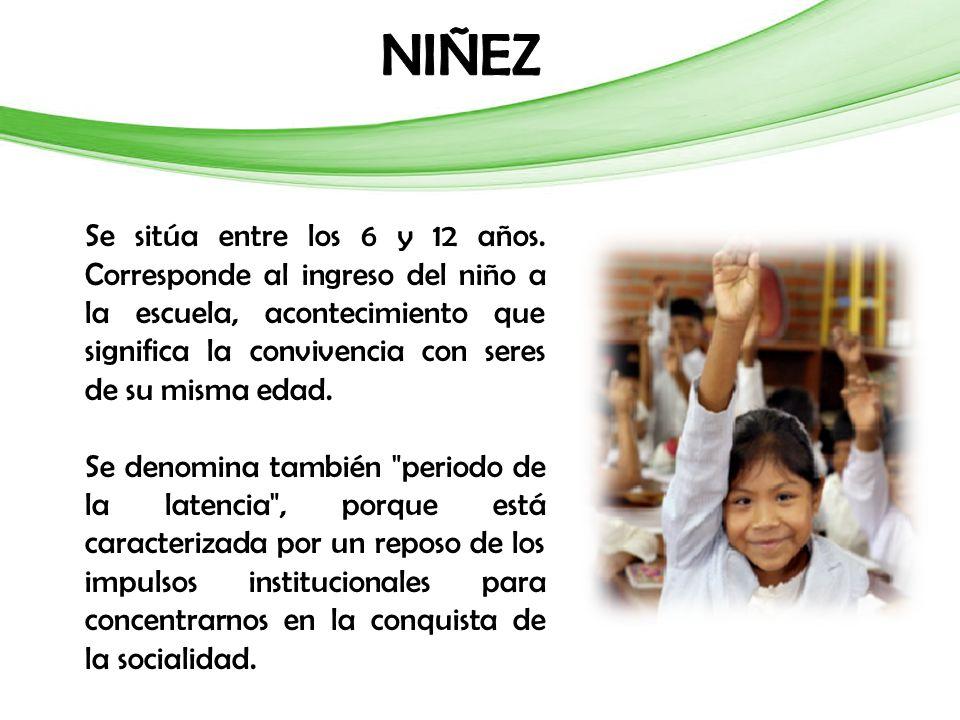 Se sitúa entre los 6 y 12 años. Corresponde al ingreso del niño a la escuela, acontecimiento que significa la convivencia con seres de su misma edad.