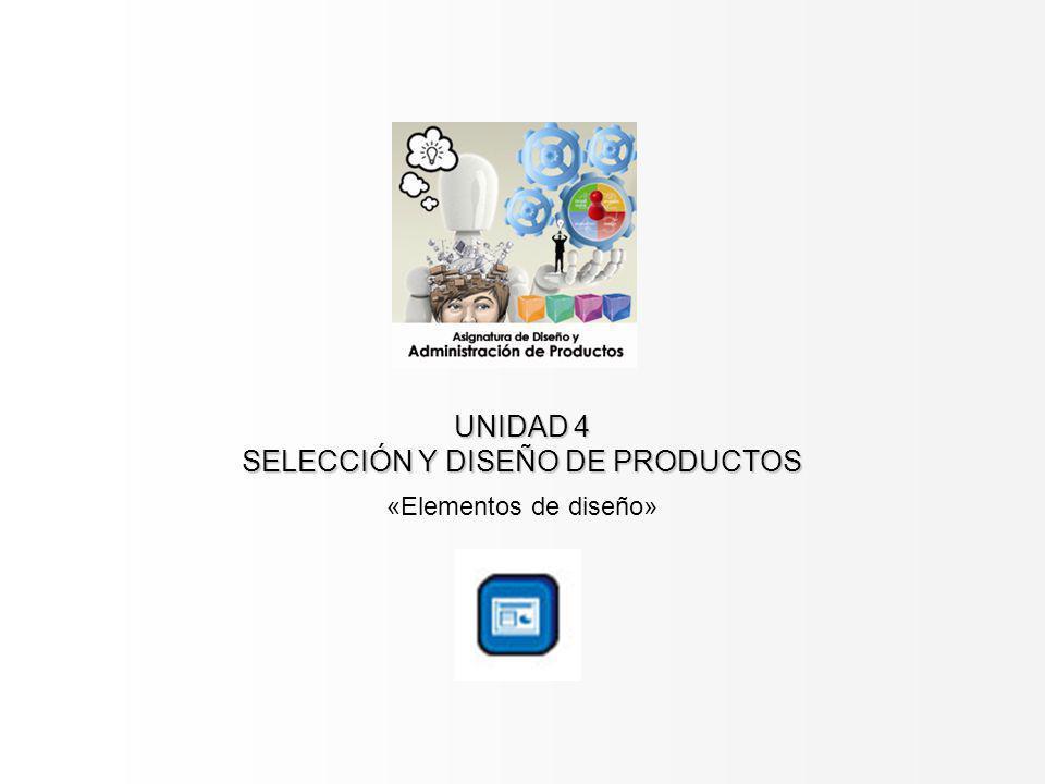 UNIDAD 4 SELECCIÓN Y DISEÑO DE PRODUCTOS «Elementos de diseño»
