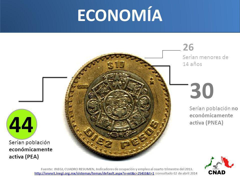 ECONOMÍA 30 Serían población no económicamente activa (PNEA) 26 Serían menores de 14 años 44 Serían población económicamente activa (PEA) Fuente: INEGI, CUADRO RESUMEN, Indicadores de ocupación y empleo al cuarto trimestre del 2013.
