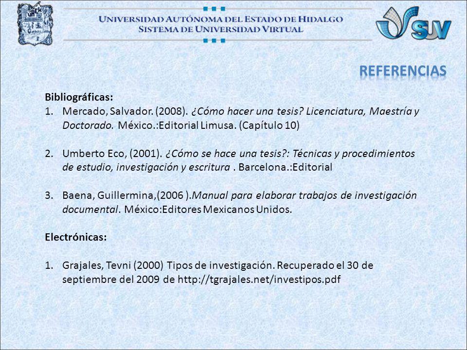 Bibliográficas: 1.Mercado, Salvador.(2008). ¿Cómo hacer una tesis.