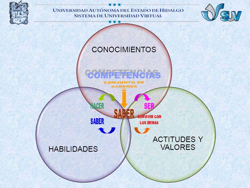 CONOCIMIENTOS ACTITUDES Y VALORES HABILIDADES