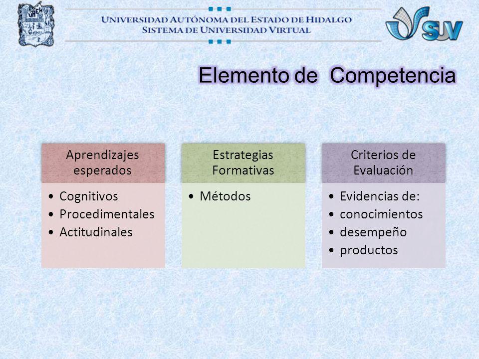 Aprendizajes esperados Cognitivos Procedimentales Actitudinales Estrategias Formativas Métodos Criterios de Evaluación Evidencias de: conocimientos desempeño productos