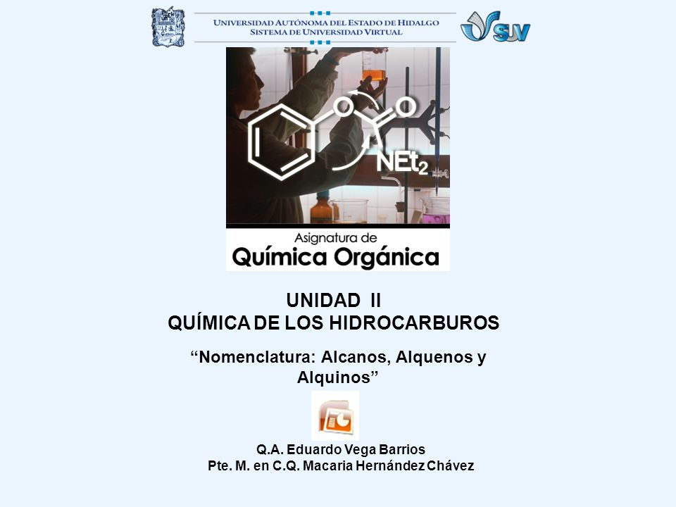 UNIDAD II QUÍMICA DE LOS HIDROCARBUROS Nomenclatura: Alcanos, Alquenos y Alquinos Q.A. Eduardo Vega Barrios Pte. M. en C.Q. Macaria Hernández Chávez