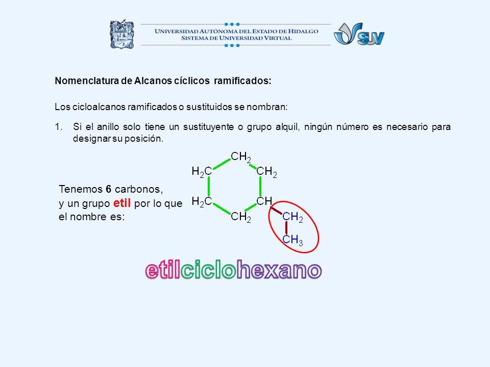 Nomenclatura de Alcanos cíclicos ramificados: Los cicloalcanos ramificados o sustituidos se nombran: 1.Si el anillo solo tiene un sustituyente o grupo alquil, ningún número es necesario para designar su posición.