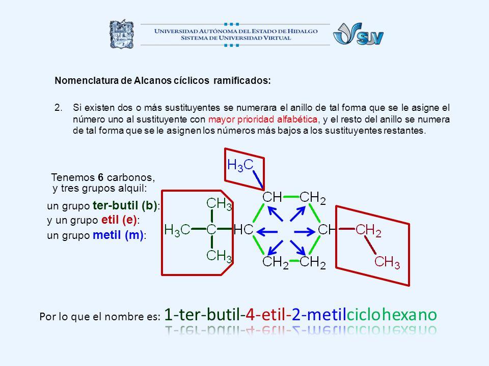 Nomenclatura de Alcanos cíclicos ramificados: 2.Si existen dos o más sustituyentes se numerara el anillo de tal forma que se le asigne el número uno a