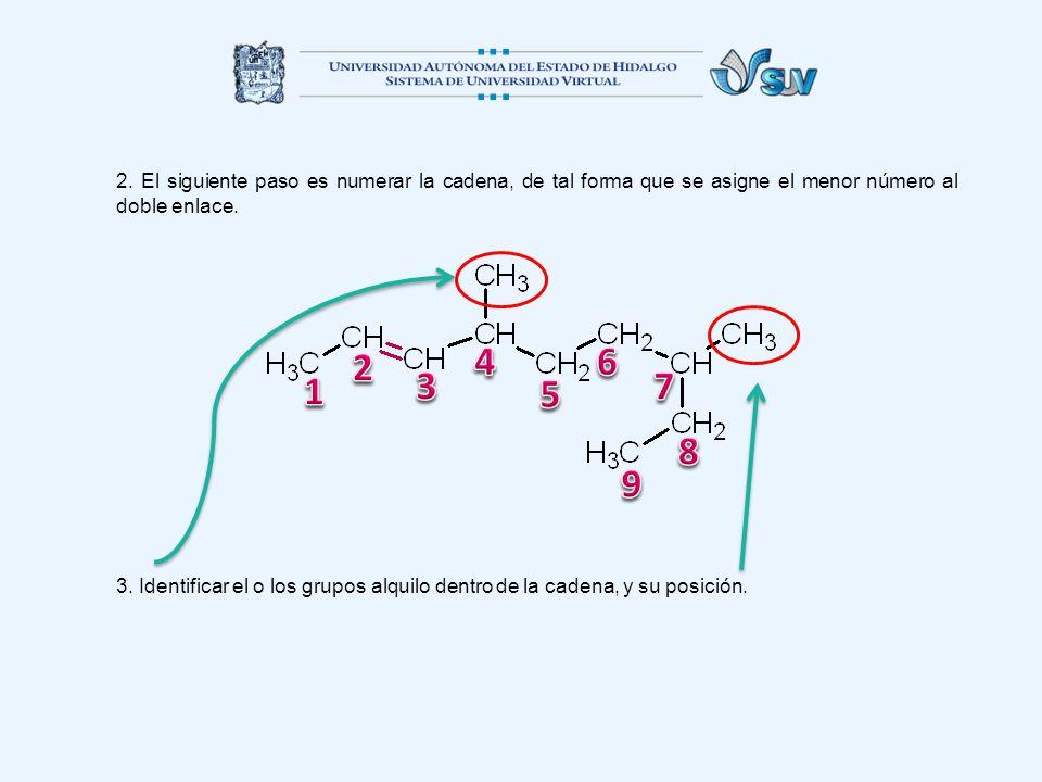 2. El siguiente paso es numerar la cadena, de tal forma que se asigne el menor número al doble enlace. 3. Identificar el o los grupos alquilo dentro d