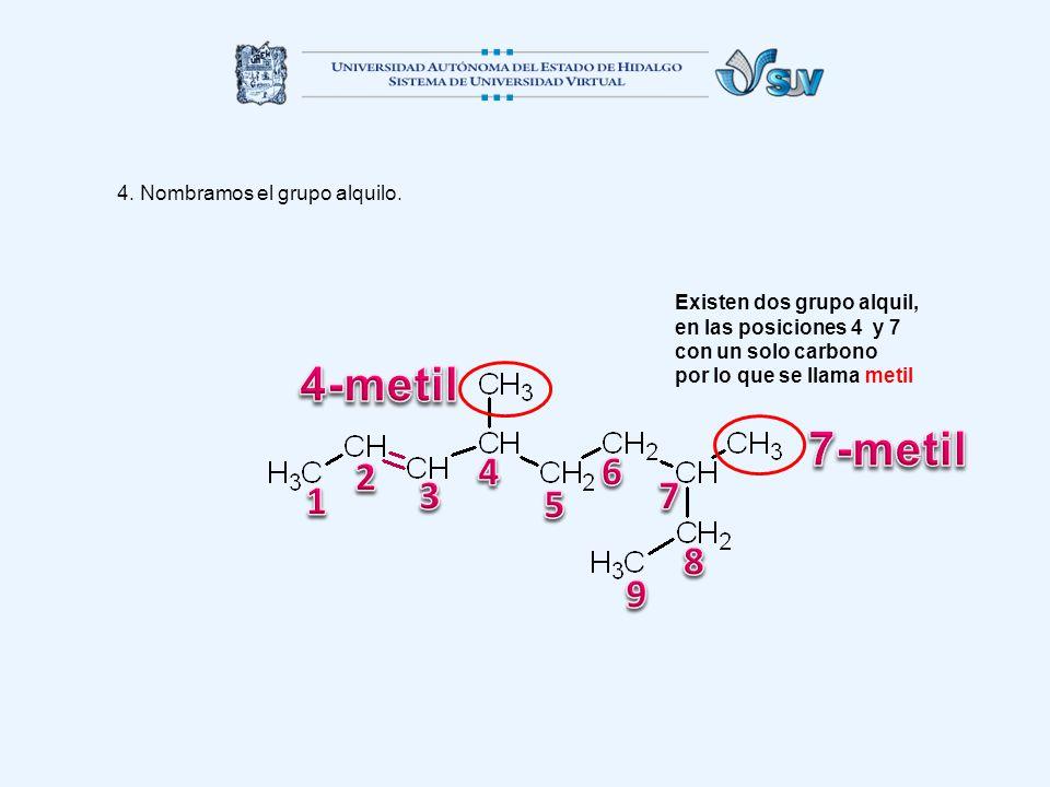 4. Nombramos el grupo alquilo. Existen dos grupo alquil, en las posiciones 4 y 7 con un solo carbono por lo que se llama metil