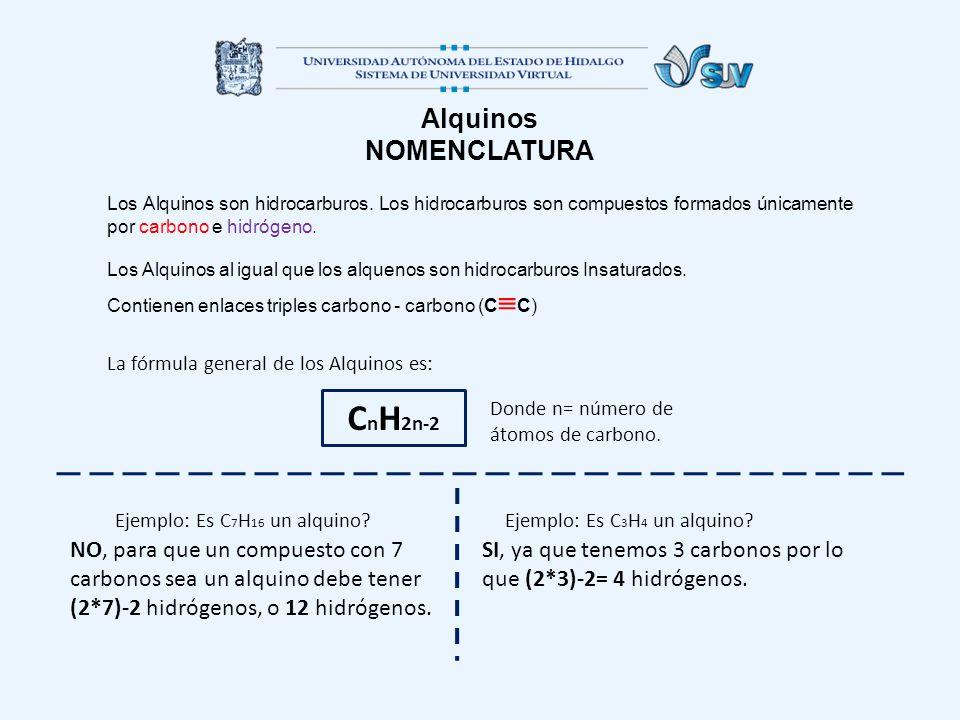 Alquinos NOMENCLATURA Los Alquinos son hidrocarburos. Los hidrocarburos son compuestos formados únicamente por carbono e hidrógeno. Los Alquinos al ig