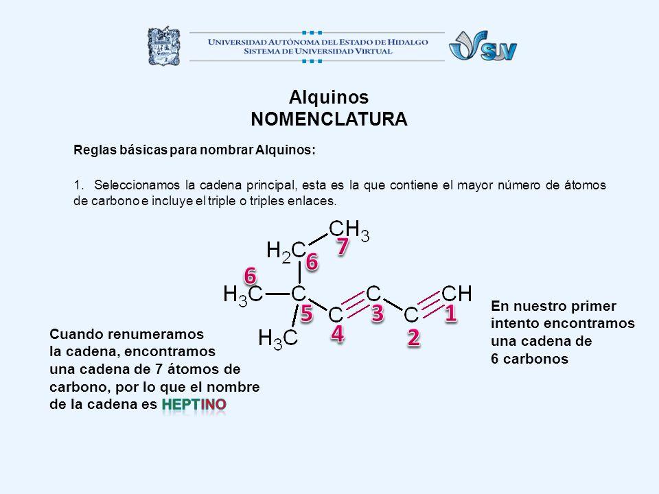 Alquinos NOMENCLATURA Reglas básicas para nombrar Alquinos: 1. Seleccionamos la cadena principal, esta es la que contiene el mayor número de átomos de