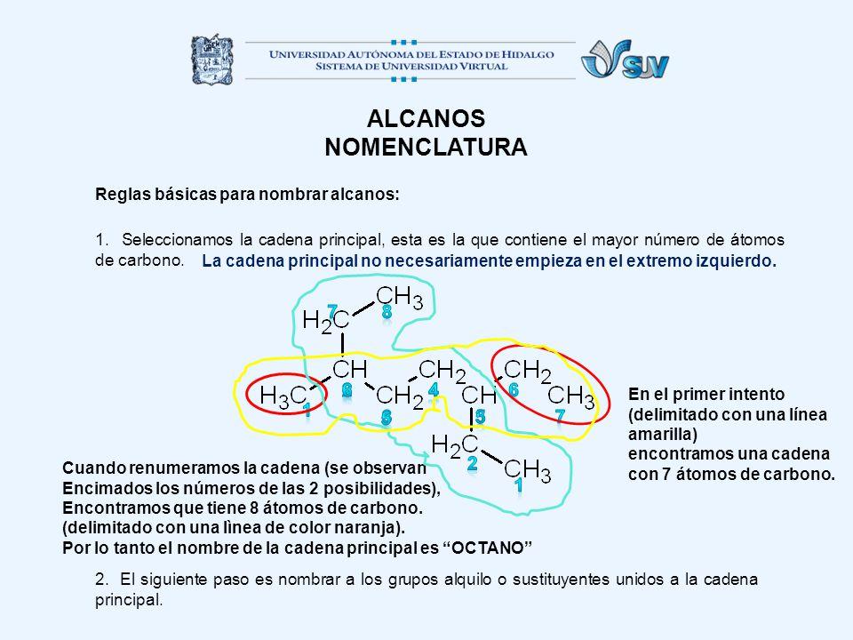 ALCANOS NOMENCLATURA Reglas básicas para nombrar alcanos: 1.