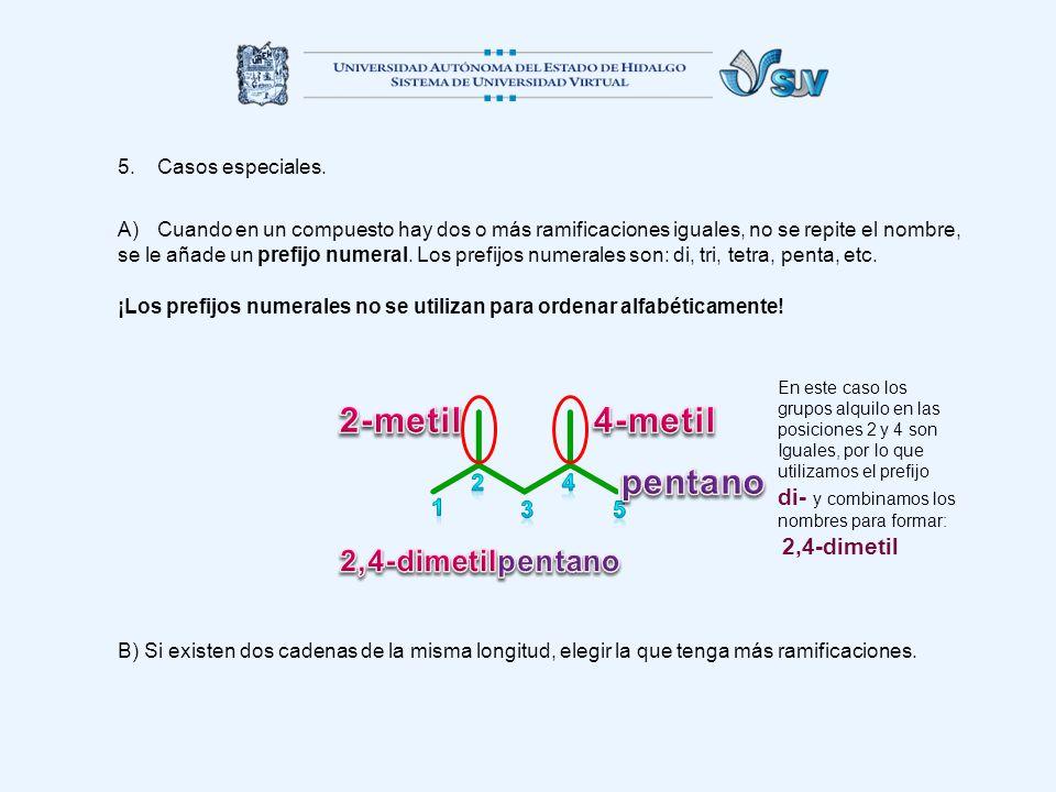 5.Casos especiales. A)Cuando en un compuesto hay dos o más ramificaciones iguales, no se repite el nombre, se le añade un prefijo numeral. Los prefijo