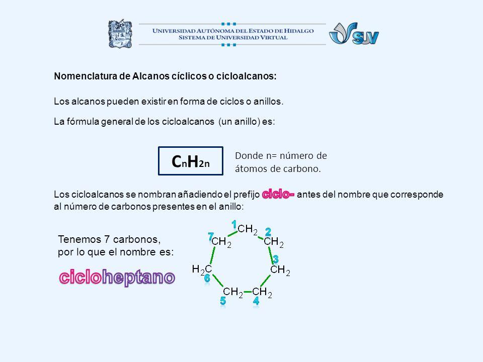 Nomenclatura de Alcanos cíclicos o cicloalcanos: Los alcanos pueden existir en forma de ciclos o anillos.