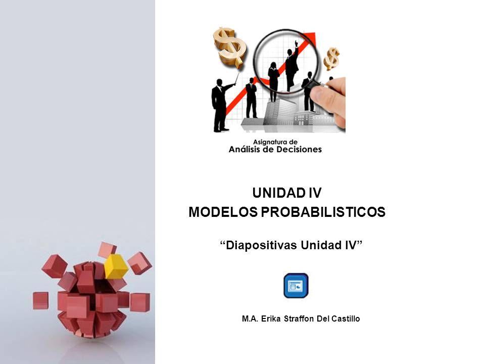 UNIDAD IV MODELOS PROBABILISTICOS Diapositivas Unidad IV M.A. Erika Straffon Del Castillo