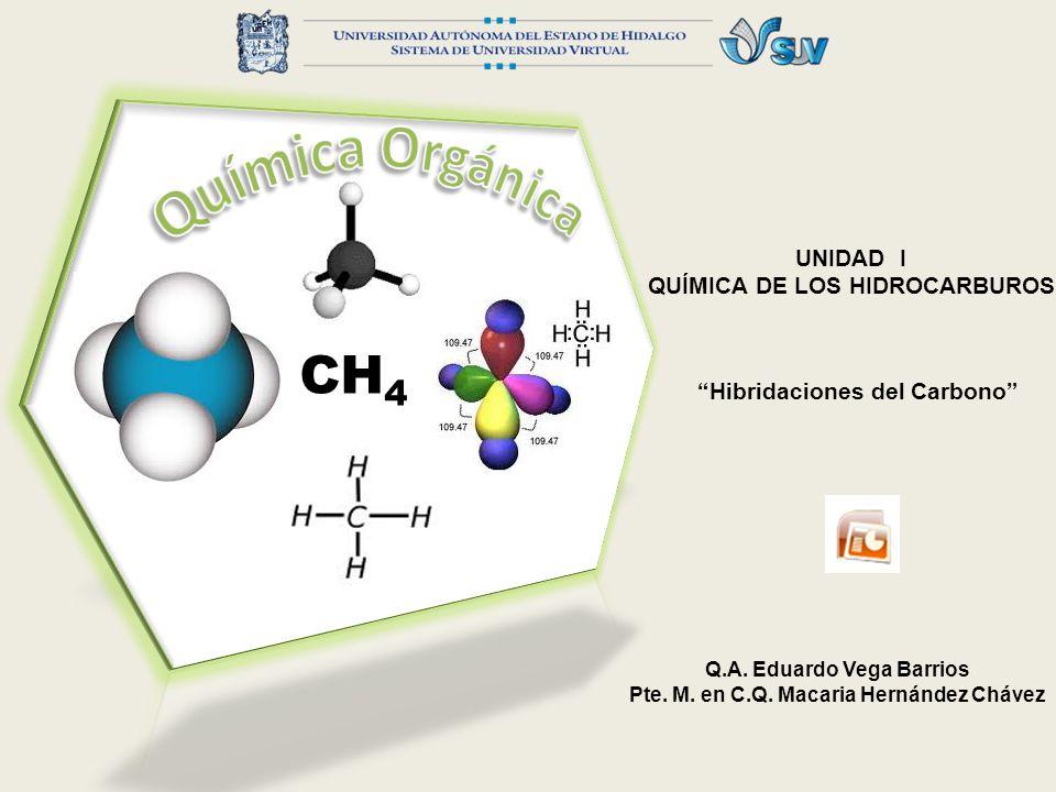 UNIDAD I QUÍMICA DE LOS HIDROCARBUROS Hibridaciones del Carbono Q.A. Eduardo Vega Barrios Pte. M. en C.Q. Macaria Hernández Chávez CH 4