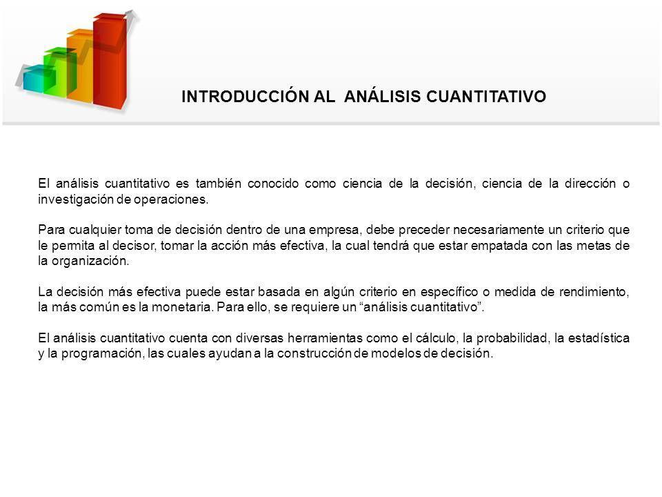 El análisis cuantitativo es también conocido como ciencia de la decisión, ciencia de la dirección o investigación de operaciones. Para cualquier toma