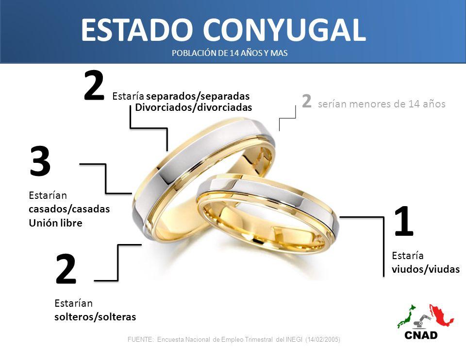 ESTADO CONYUGAL 2 Estarían solteros/solteras 3 Estarían casados/casadas Unión libre 2 Estaría separados/separadas 1 Estaría viudos/viudas POBLACIÓN DE 14 AÑOS Y MAS FUENTE: Encuesta Nacional de Empleo Trimestral del INEGI (14/02/2005) 2 serían menores de 14 años Divorciados/divorciadas