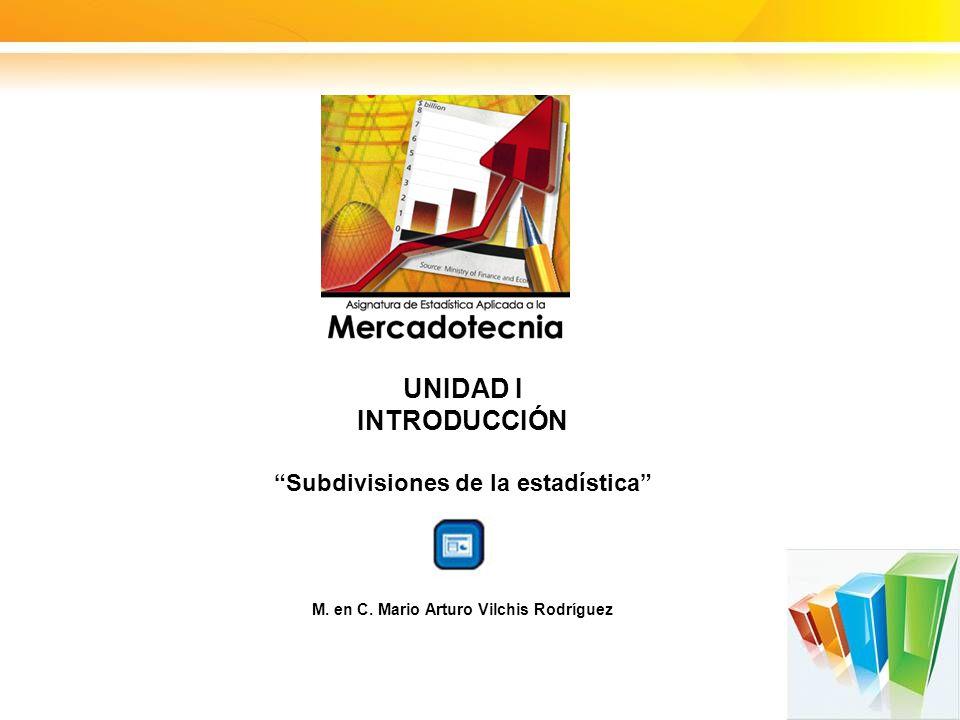 UNIDAD I INTRODUCCIÓN Subdivisiones de la estadística M. en C. Mario Arturo Vilchis Rodríguez