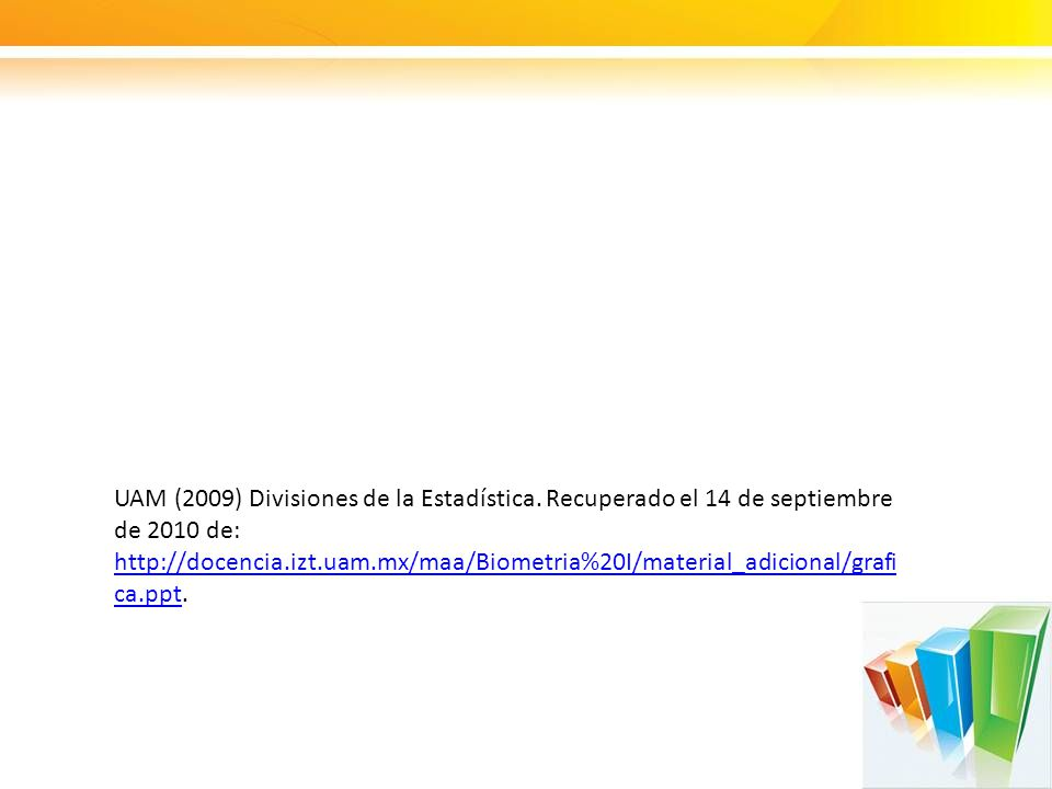 UAM (2009) Divisiones de la Estadística. Recuperado el 14 de septiembre de 2010 de: http://docencia.izt.uam.mx/maa/Biometria%20I/material_adicional/gr