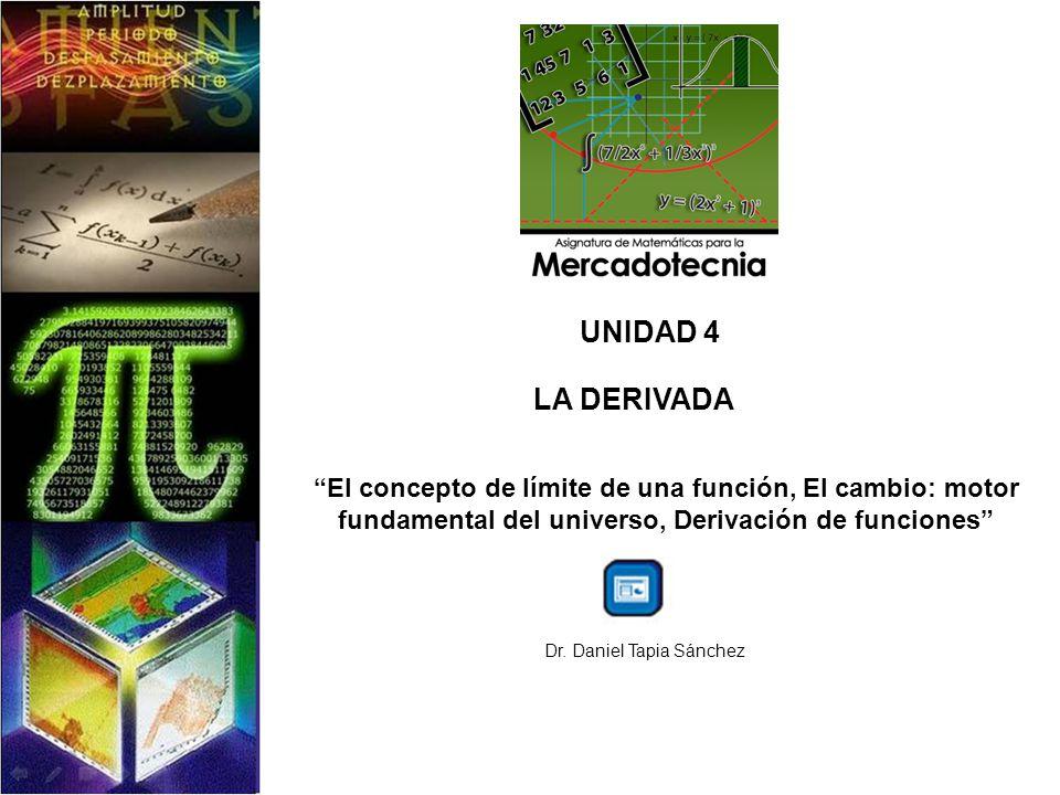 UNIDAD 4 LA DERIVADA El concepto de límite de una función, El cambio: motor fundamental del universo, Derivación de funciones Dr. Daniel Tapia Sánchez