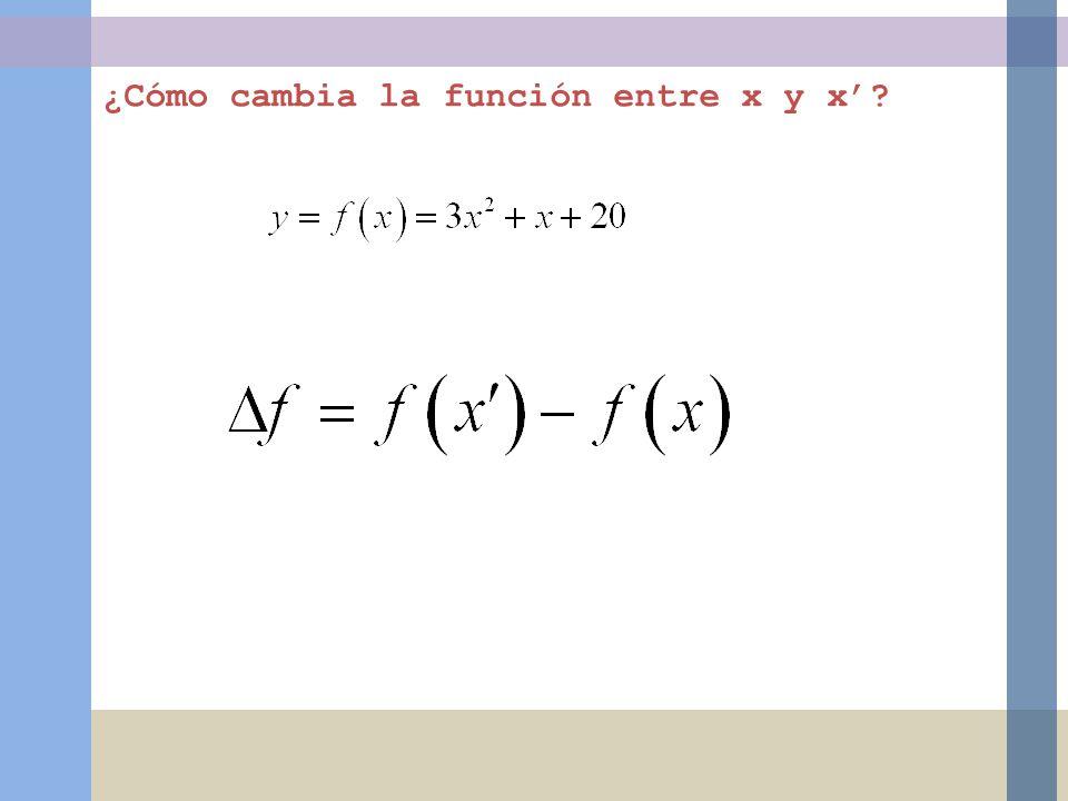 ¿Cómo cambia la función entre x y x?