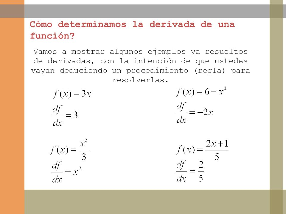 Cómo determinamos la derivada de una función? Vamos a mostrar algunos ejemplos ya resueltos de derivadas, con la intención de que ustedes vayan deduci
