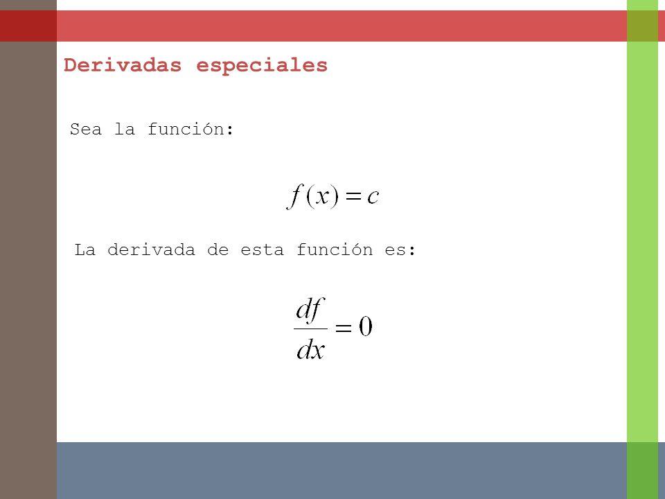 Sea la función: Derivadas especiales La derivada de esta función es: