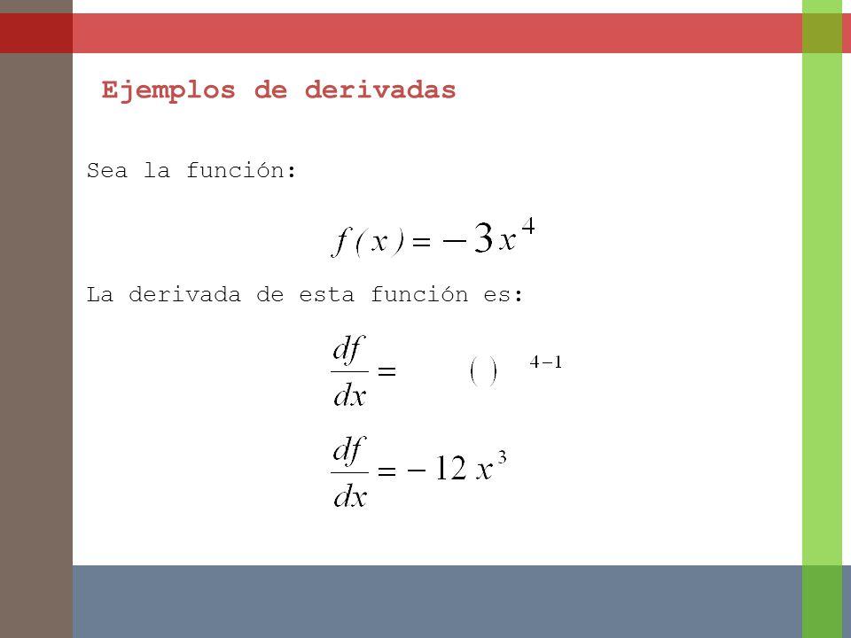 Sea la función: La derivada de esta función es: Ejemplos de derivadas