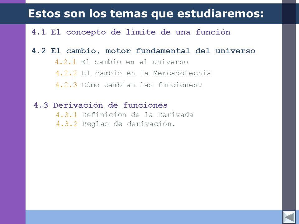 4.1 El concepto de límite de una función Estos son los temas que estudiaremos: 4.2 El cambio, motor fundamental del universo 4.2.2 El cambio en la Mer