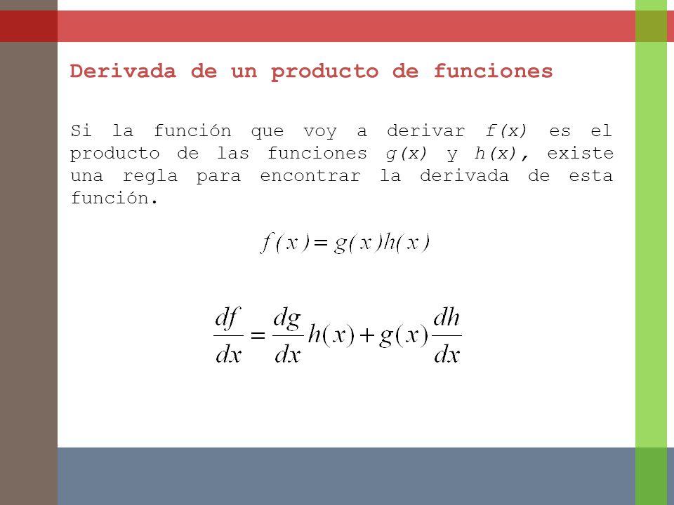 Derivada de un producto de funciones Si la función que voy a derivar f(x) es el producto de las funciones g(x) y h(x), existe una regla para encontrar la derivada de esta función.