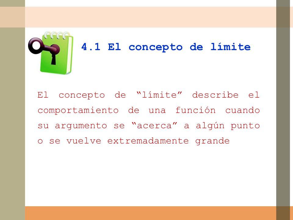 El concepto de límite describe el comportamiento de una función cuando su argumento se acerca a algún punto o se vuelve extremadamente grande 4.1 El concepto de límite