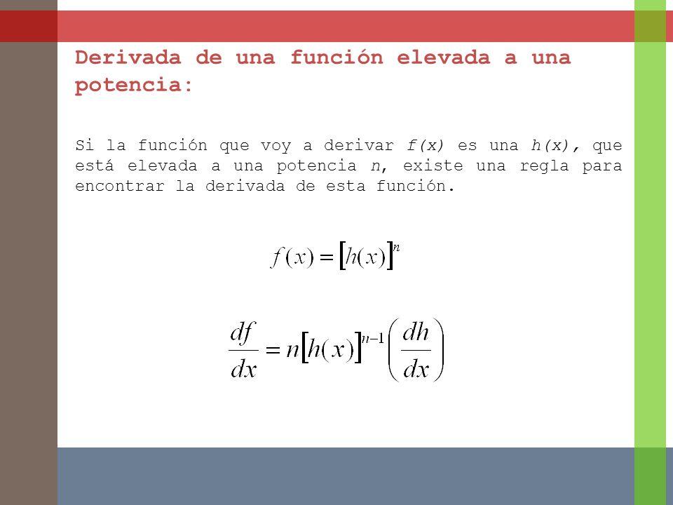 Derivada de una función elevada a una potencia: Si la función que voy a derivar f(x) es una h(x), que está elevada a una potencia n, existe una regla para encontrar la derivada de esta función.