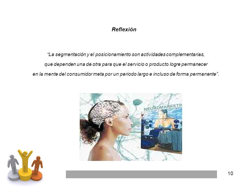 10 Reflexión La segmentación y el posicionamiento son actividades complementarias, que dependen una de otra para que el servicio o producto logre perm