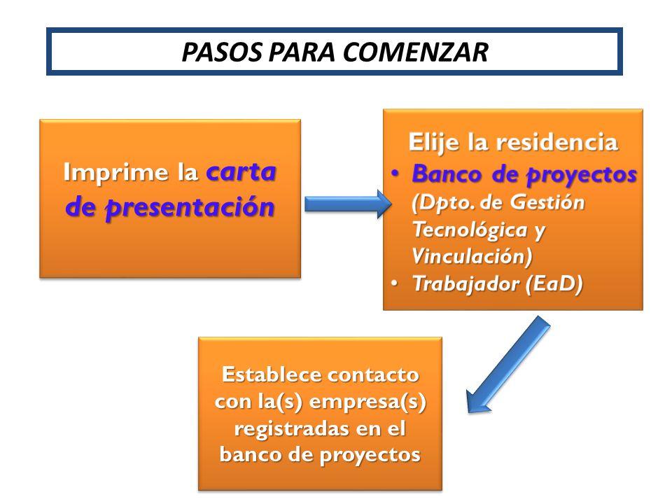PASOS PARA COMENZAR Imprime la carta de presentación Establece contacto con la(s) empresa(s) registradas en el banco de proyectos