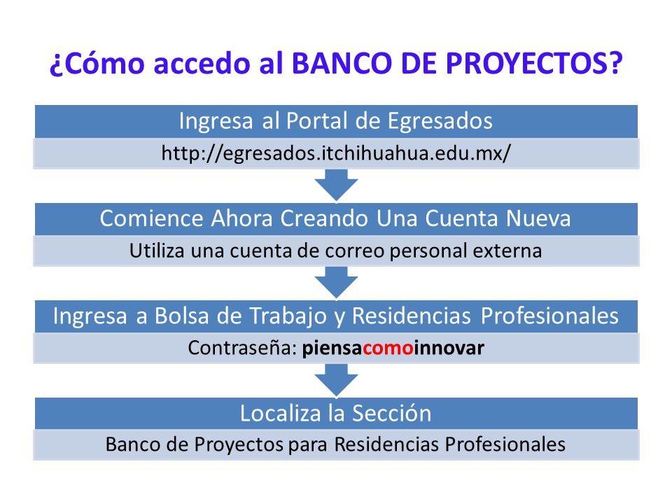 ¿Cómo accedo al BANCO DE PROYECTOS? Localiza la Sección Banco de Proyectos para Residencias Profesionales Ingresa a Bolsa de Trabajo y Residencias Pro
