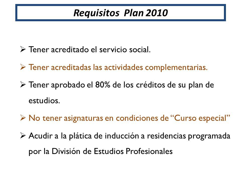 Requisitos Plan 2010 Tener acreditado el servicio social. Tener acreditadas las actividades complementarias. Tener aprobado el 80% de los créditos de