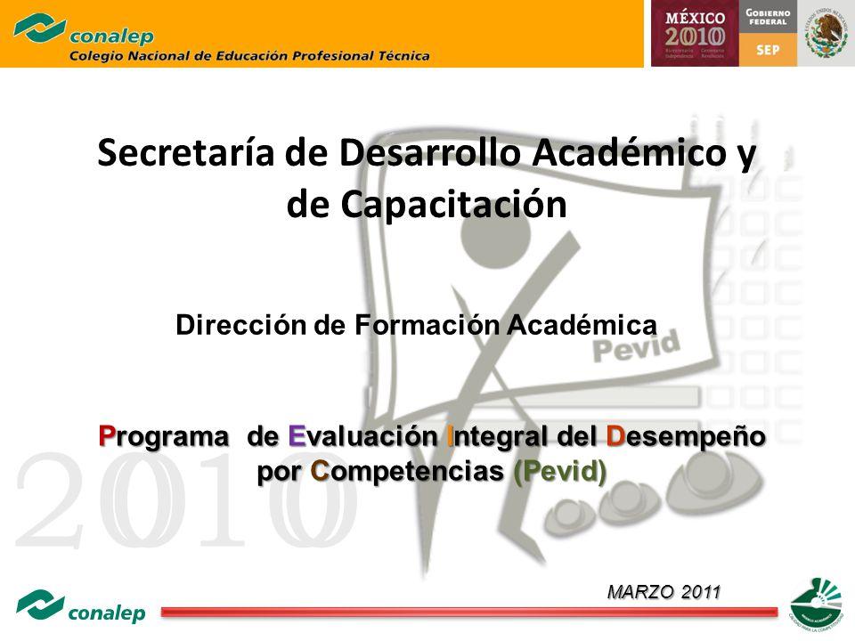 20100 Secretaría de Desarrollo Académico y de Capacitación Dirección de Formación Académica Programa de Evaluación Integral del Desempeño por Competen