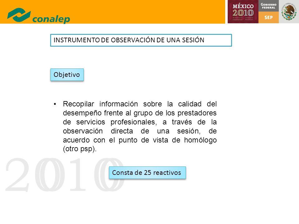 20100 INSTRUMENTO DE OBSERVACIÓN DE UNA SESIÓN Recopilar información sobre la calidad del desempeño frente al grupo de los prestadores de servicios pr