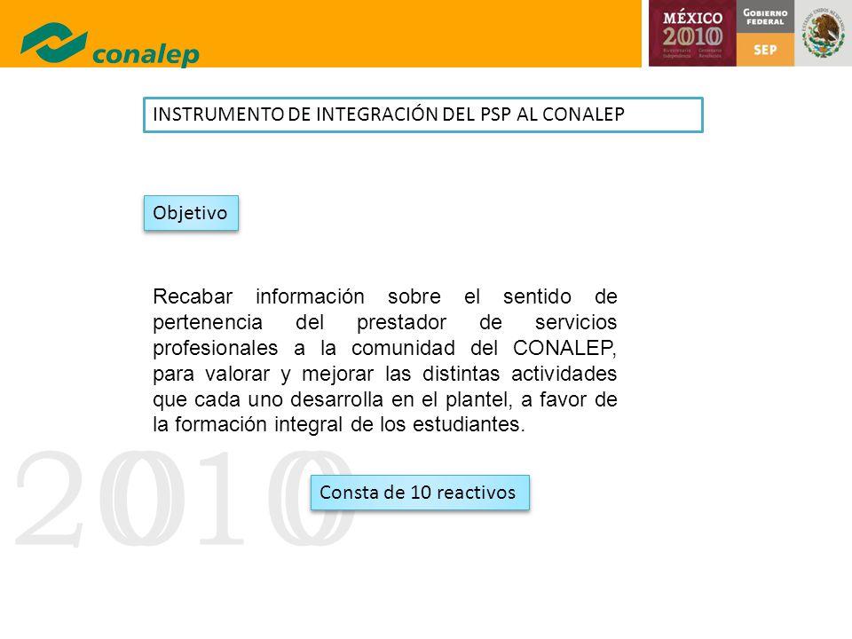 20100 INSTRUMENTO DE INTEGRACIÓN DEL PSP AL CONALEP Recabar información sobre el sentido de pertenencia del prestador de servicios profesionales a la