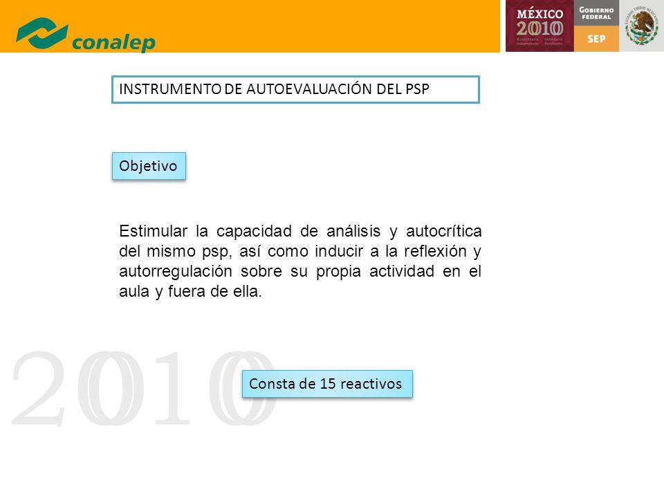 20100 INSTRUMENTO DE AUTOEVALUACIÓN DEL PSP Estimular la capacidad de análisis y autocrítica del mismo psp, así como inducir a la reflexión y autorreg