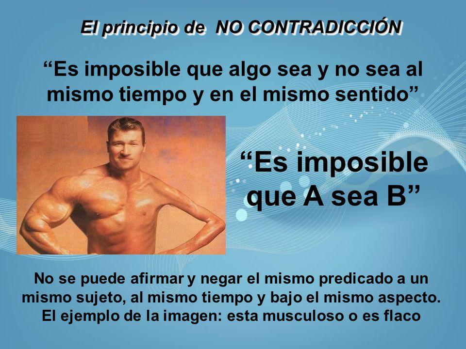 El principio de NO CONTRADICCIÓN Es imposible que algo sea y no sea al mismo tiempo y en el mismo sentido Es imposible que A sea B No se puede afirmar