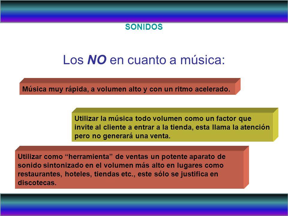 SONIDOS Los NO en cuanto a música: Música muy rápida, a volumen alto y con un ritmo acelerado. Utilizar la música todo volumen como un factor que invi