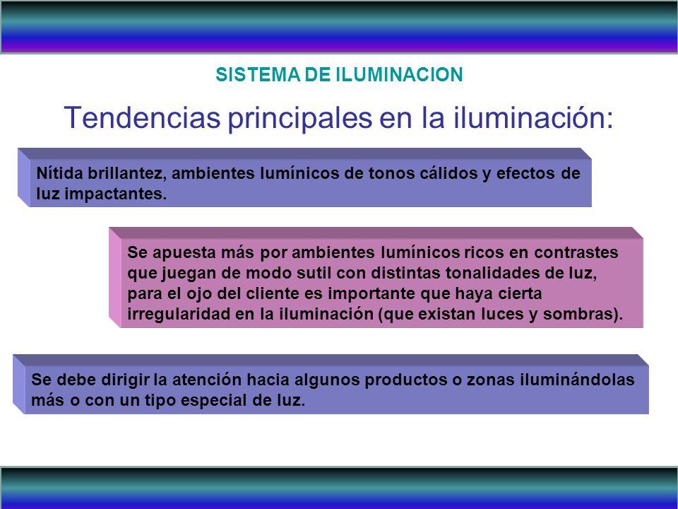 SISTEMA DE ILUMINACION Tendencias principales en la iluminación: Nítida brillantez, ambientes lumínicos de tonos cálidos y efectos de luz impactantes.