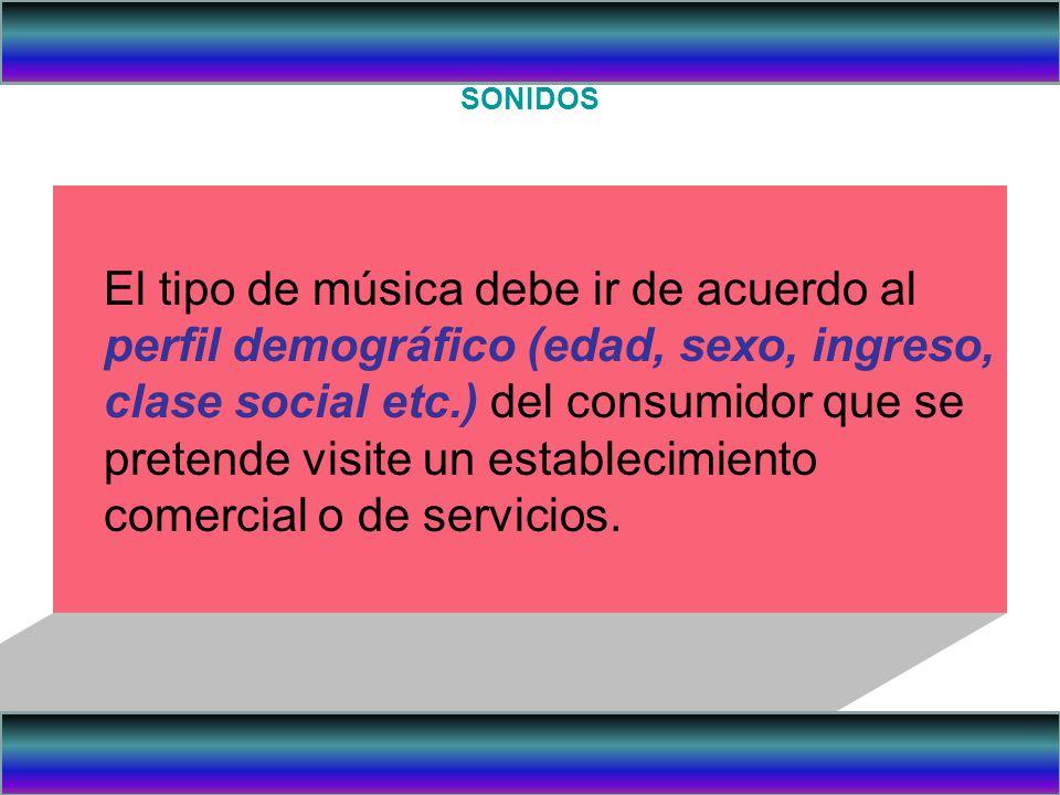 SONIDOS El tipo de música debe ir de acuerdo al perfil demográfico (edad, sexo, ingreso, clase social etc.) del consumidor que se pretende visite un e