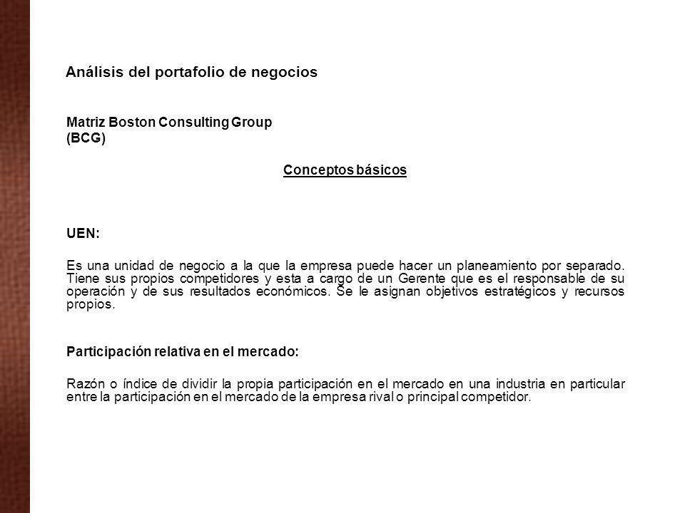 Matriz Boston Consulting Group (BCG) Conceptos básicos UEN: Es una unidad de negocio a la que la empresa puede hacer un planeamiento por separado. Tie