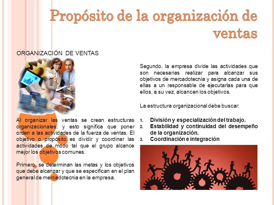ORGANIZACIÓN DE VENTAS Al organizar las ventas se crean estructuras organizacionales, y esto significa que poner orden a las actividades de la fuerza