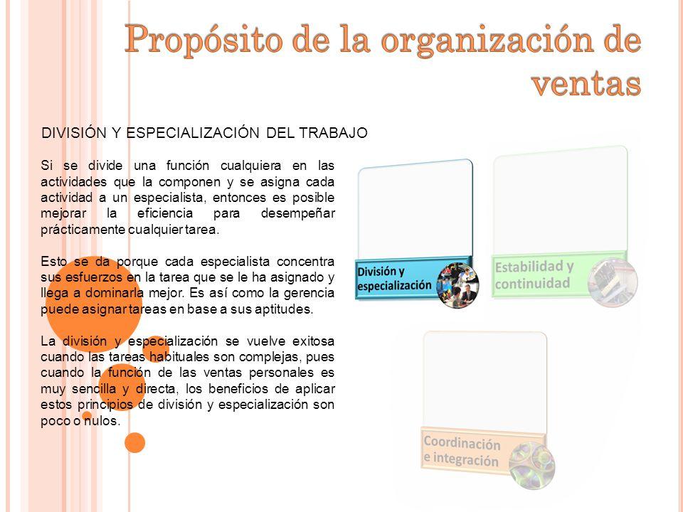 DIVISIÓN Y ESPECIALIZACIÓN DEL TRABAJO La división y especialización del trabajo benefician a las funciones administrativas así como las ventas.