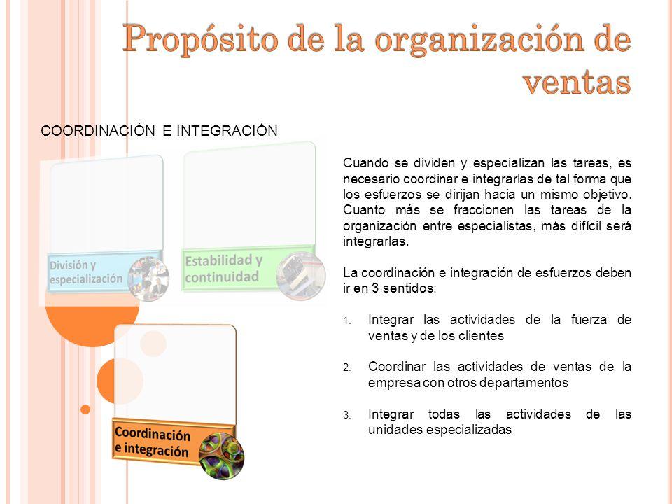COORDINACIÓN E INTEGRACIÓN Cuando se dividen y especializan las tareas, es necesario coordinar e integrarlas de tal forma que los esfuerzos se dirijan