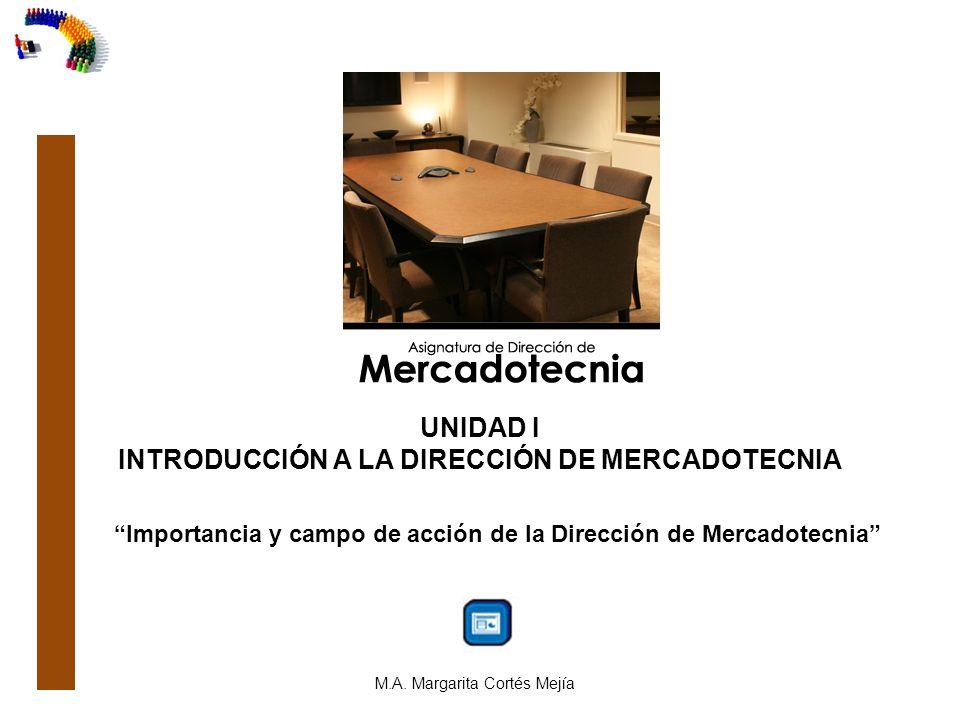 Importancia y campo de acción de la Dirección de Mercadotecnia M.A. Margarita Cortés Mejía UNIDAD I INTRODUCCIÓN A LA DIRECCIÓN DE MERCADOTECNIA
