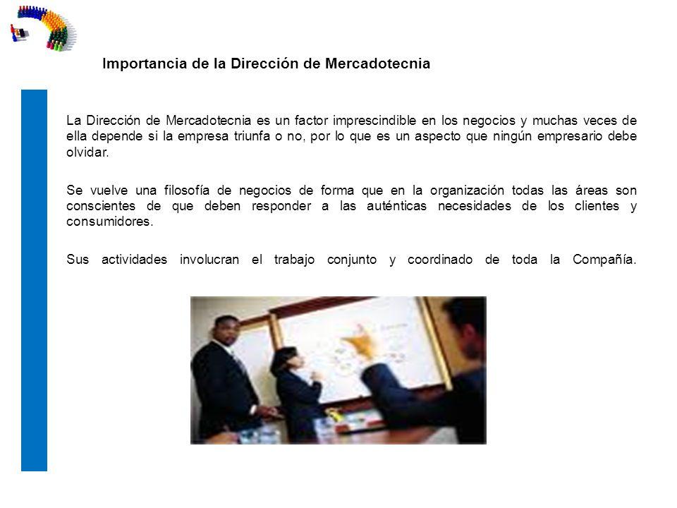 Importancia de la Dirección de Mercadotecnia La importancia de la a Dirección de mercadotecnia radica en que es ésta la que marca las pautas de actuación.